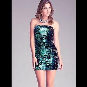 Bebe Green and Black Sequin Dress